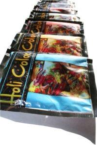 Impresión del logo en las bolsas de polvos holi